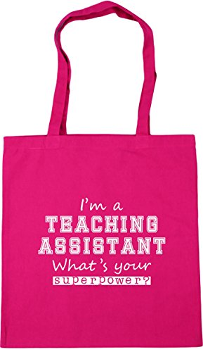 HippoWarehouse I'm A Teaching Assistant What's Your Superpower? Tote Shopping Gym Beach Bag 42cm x38cm, 10 litres Fuchsia