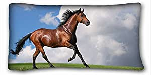 Custom Cotton & Polyester Soft ( Animals Horse kiss beautiful photo ) Pillow Cushion Case Cover One Sides Printed 20x36 Inches suitable for Full-bed PC-Green-17130