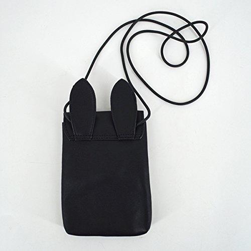 Bag Cartoon Black Leather YAOSEN Bag Rabbit Cute Ears Crossbody PU Shoulder Bag Cellphone xTHqPpwOf