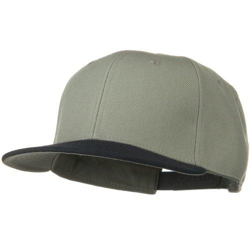 Otto Caps Wool Blend Flat Visor Pro Style Snapback Cap - Navy Grey (Ultrafit Wool Blend Cap)