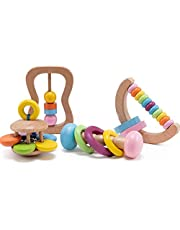 Promise Babe Montessori Wooden Rattle 4PC Preschool Educational Toys Baby Grasping Toy Perfect Toddler Shower Gift