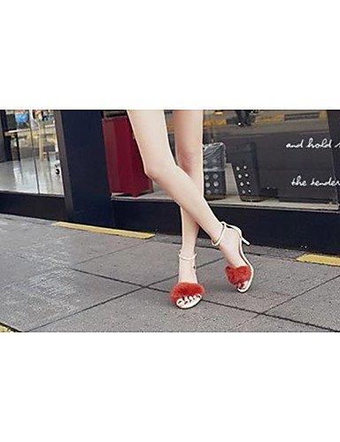ShangYi Women's Shoes Leather Stiletto Heel Pom-pom Sandals Outdoor / Dress Black / Pink