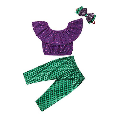 Toddler Baby Girls Mermaid Outfits Set Off Shoulder Ruffle Crop Tops Fish Long Leggings Pants with Headband 1-2 T Purple]()