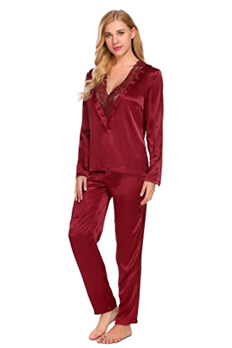 Adidome Womens Satin Pajama Set Lace Patchwork V Neck Blouse Long Pants  Sleepwear Loungewear 2PCS ( 479cf7448