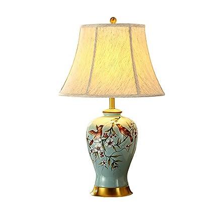 Lying Lámpara de mesa de cerámica, flores y pájaros pintados ...