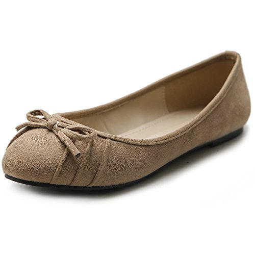 Ribbon Beige Women's Suede Flat Pleat Shoe Comfort Ballet Faux Ollio 47YqwC