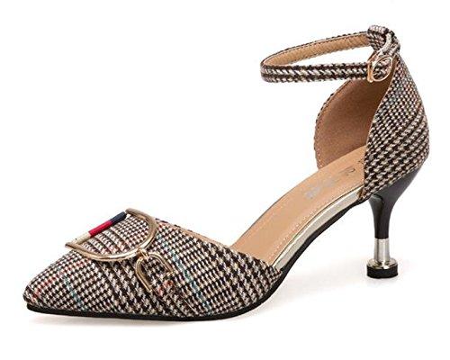 Ein bißchen 2018 Damen Mode beliebet Knöchelriemchen Schuhe Bunte mit Niete Business Arbeitschuhe Khaki