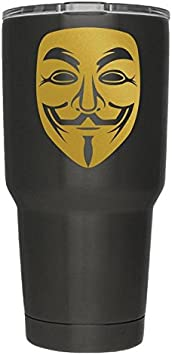 Anonymous Mask Gold Vinyl Decal | Pack of 2 | Anonymous Stickers V for Vendetta Sticker Guy Fawkes Sticker Hacker Mask Sticker Anonymous | 3 Inch | Decal ONLY Cup NOT Included | D016