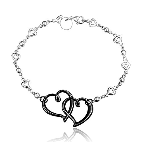 BLOOMCHARM Black Eternal Love Double Heart Charm Pendant Bracelet Sterling Silver plated, Birthday Gifts for Women Men