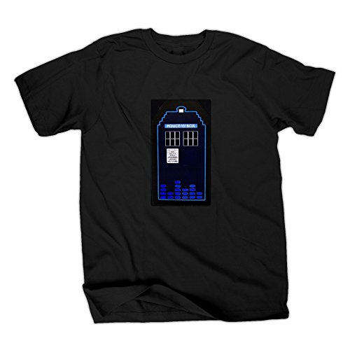 Doctor Who TARDIS Sound Activated LED Light Up Adult T-Shirt (Adult Small)