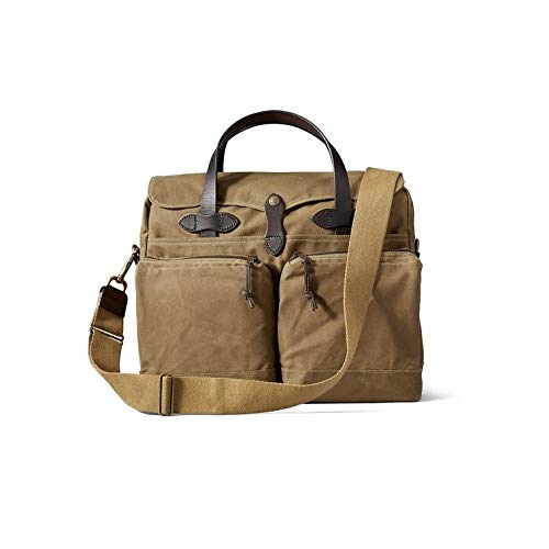 Filson Men's 24 Hour Briefcase, Dark Tan, One Size (Oil Finish Tin Cloth)