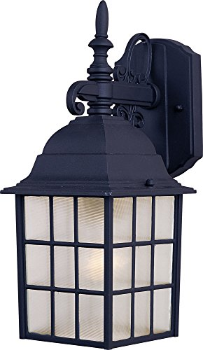 Maxim 1051BK North Church 1-Light Outdoor Wall Lantern, Black Finish, Clear Glass, MB Incandescent Incandescent Bulb , 100W Max., Dry Safety Rating, Standard Dimmable, Glass Shade Material, 5750 Rated Lumens