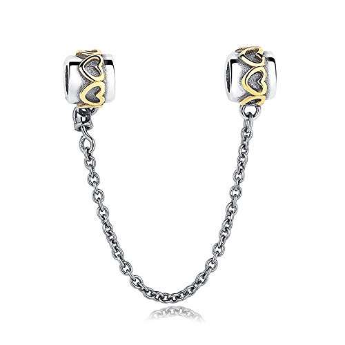 Everbling Golden Love Connection Safety Chain 925 Sterling Silver Bead Fits European Charm Bracelet ()