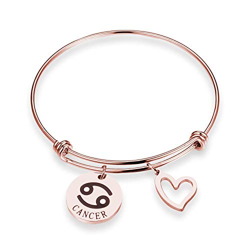 (ZNTINA Zodiac Bracelet 12 Constellation Bracelets Jewelry Horoscope Bracelet CZ Star Sign Jewelry Gift Birthday Christmas Day Gift (Cancer BR))