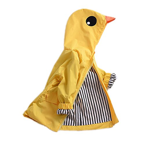 Birdfly Unisex Kids Animal Raincoat Cute Cartoon Jacket Hooded Zip Up Coat Outwear Baby Fall Winter Clothes School Oufits (4T, Quacker) ()