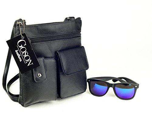 New Soft Leather Hand Crafted Crossbody Mini Purse Organizer Travel Bag (Black)
