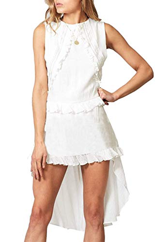 PRETTYGARDEN Women's Casual Sleeveless Halter Neck Hollow Out Lace Irregular Hem Belted Ruffle Mini Dress (White, Large)