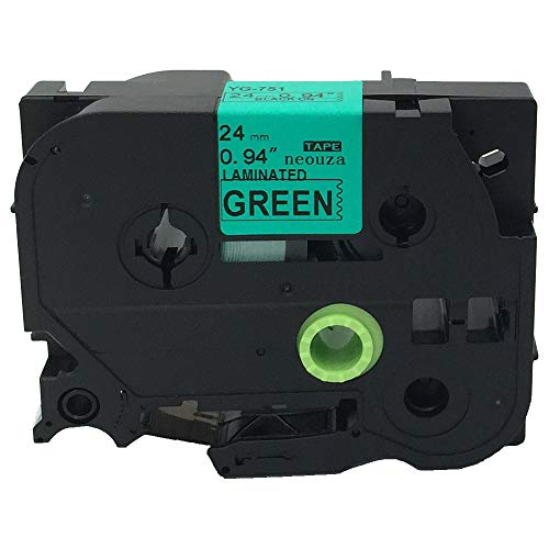 Black on Green Label Tape Compatible for Brother TZ TZe 751 TZ-751 TZe-751 24mm P-touch 8m 1x26.2