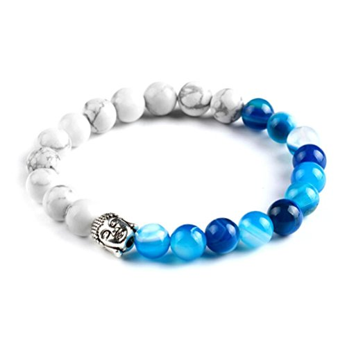 Price comparison product image JSPOYOU Promotions Women Agate Beaded Buddha Head Bracelet Tibet Charm Lucky Bracelets (Blue)