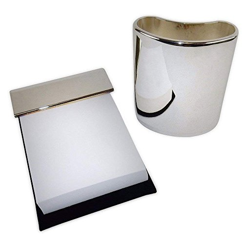 (Silver Plated Desk Accessories - Pencil Cup and Memo Pad, Executive Styling.)