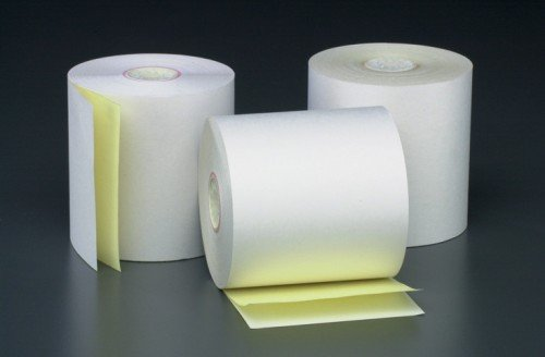 3 X 2 7/8 X 90' 2 Ply White/Canary POS/Cash Register Rolls 7/16