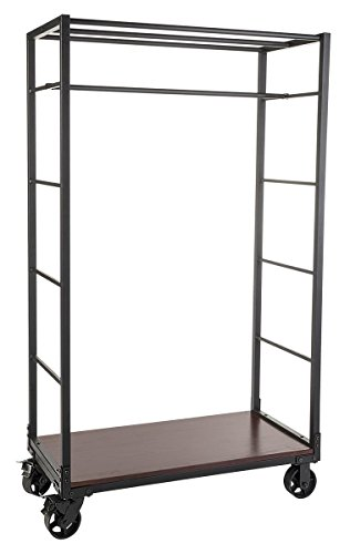 Displays2go Industrial-Style Clothing Rack with Two Removabl