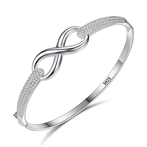 EleQueen 925 Sterling Silver Cubic Zirconia Hollow Filigree Infinity Figure Bridal Bangle Bracelet