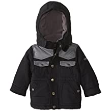 YMI Baby Boys' Bubble Jacket with Contrasting Faux Leather Yoke and Pocket
