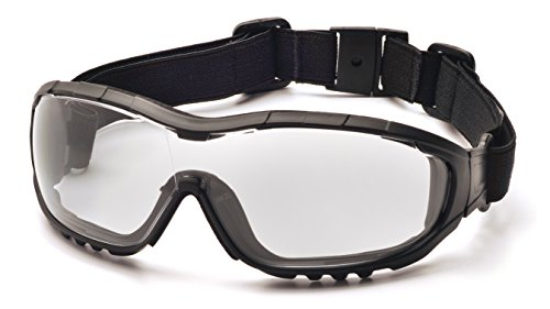 Pyramex V3G Safety Goggles, Black Strap/Temples/Clear Anti-Fog Lens