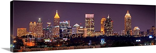 CANVAS Atlanta Skyline NIGHT 11 inches x 34 inches COLOR City Downtown Photographic Panorama Print Picture