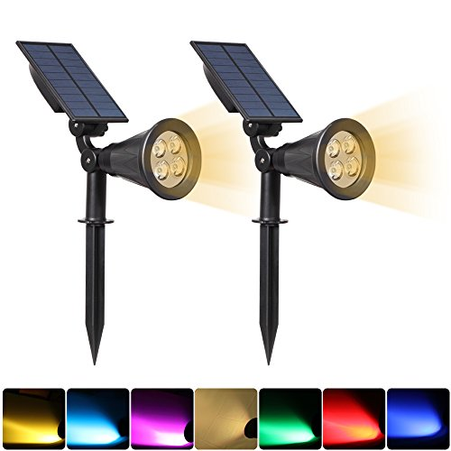 Solar Lights Outdoor Bright Adjustable 4 LED Landscape Lights Waterproof 2-in-1 Wall Lights in-Ground Light Security Lighting Dark Sensing Auto On/Off solar uplight Pack of 2 (Yellow-2 Pack)