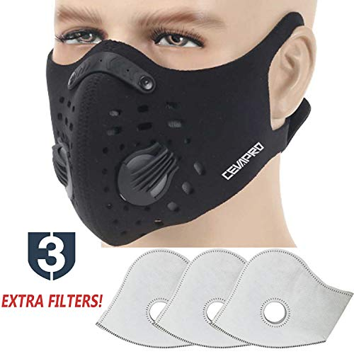 MoHo Dust Mask, Upgrade Version Activated Carbon Dustproof Mask Windproof Foggy Haze Anti-Dust Mask Motorcycle Bicycle Cycling Ski Half Face Mask for Outdoor Activities (Black+3 Extra Filters)
