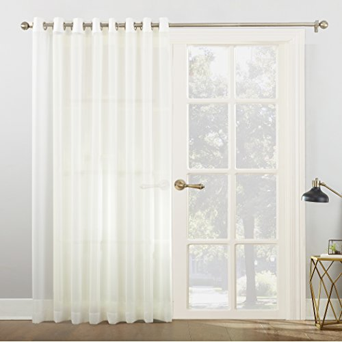 (No. 918 Emily Extra-Wide Sheer Voile Sliding Patio Door Curtain Panel, 100