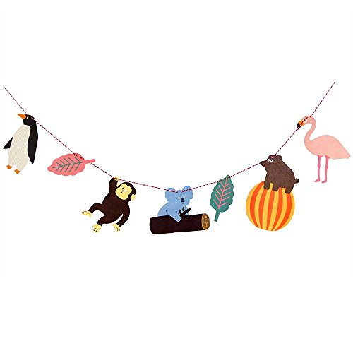 iMagitek Tropical Rainforest Animal Banners Zoo Themed Party Hanging Decorations for Baby Birthday Party, Baby Shower, Nursery Decor, Kid's Room and -