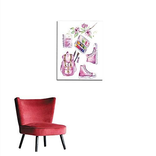 (longbuyer Photographic Wallpaper Art Tools Set with Sketchbook Paintbrush Backpack Sneakers Paintbox Watercolor Mural 32
