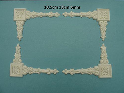 Decorative baroque corner drops x 4 applique onlay furniture moulding BCDX4 ()
