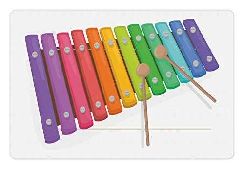 Lunarable Xylophone Pet Mat for Food and Water, Percussion Instrument Modern Sound with Pitch Tempo Rhythm Harmony Image, Rectangle Non-Slip Rubber Mat for Dogs and Cats, Multicolor