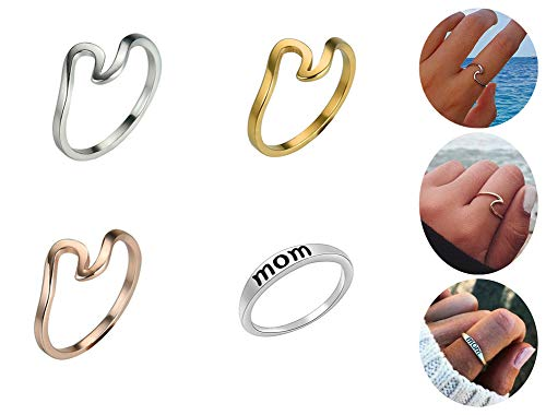 - ANGELANGELA Vintage Assorted 12 Set Stacking Rings, Antique Silver Joint Above Knuckle Nail Midi Band Statement Stackable Cuff Toe Finger Ring Set (4Pc Set Wave Mom Ring)