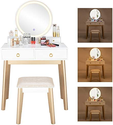 MTFY Vanity Set with Touch Screen Dimming Mirror, 3 Color Lighting Modes, Dressing Table with 4 Sliding Drawers,Bedroom Makeup Dressing Table with Cushioned Stool for Women Girls