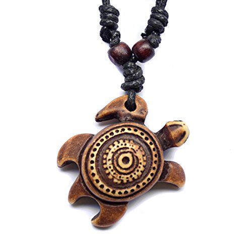 Good Luck Hand Symbol Charm (Honu Turtle Pendant Necklace - Tiki Good Luck Charm Jewelry - Adjustable Cord (Sun))