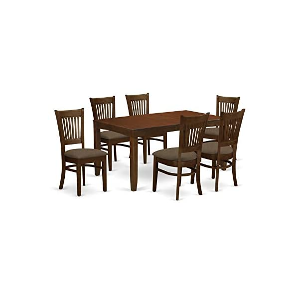 East West Furniture LYVA7-ESP-C 7-Pc Dining Set – 6 Dining Room Chairs and Dining Table - Rectangular Table Top…