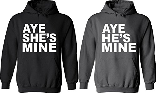 Aye He & She Is Mine - Matching Couple Hoodies - His and Her Love Sweaters
