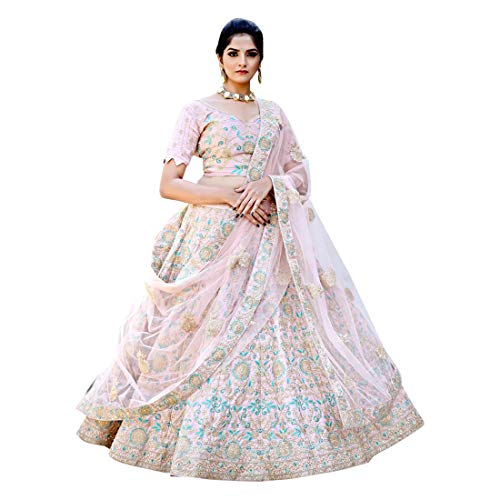 Crepe Pink Indian Ethnic Pure Malai Satin Evening Party Semi-stitched Lehenga Choli Designer Bespoke B1991