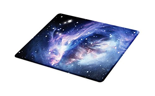 Lunarable Outer Space Cutting Board, Mysterious Nebula Gas Cloud in Deep Ouuter Space with Cluster Universe Solar, Decorative Tempered Glass Cutting and Serving Board, Small Size, Navy Purple by Lunarable
