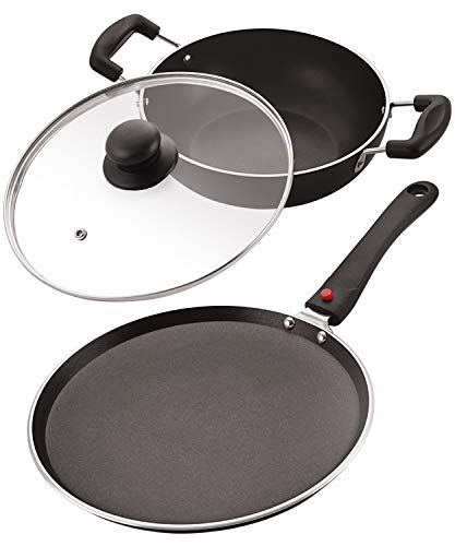 NIRLON Celebrino Heavy Gauge 4mm Thick Aluminium Heat-Resistant Handle, 3-Layer Nonstick Coatings with Glass Lid Cookware Nonstick Tawa & Kadai for Induction Gas Stove Top – Set 2 Pieces, Black