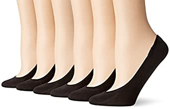 PEDS Women's Ultra Low Microfiber Liner with Gel Tab - 6 Pairs, Black, Shoe Size 8-12
