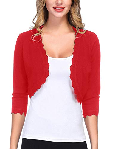 Elagant White Crop Bridal Bolero Scalloped Jacket for Wedding (L,Red)
