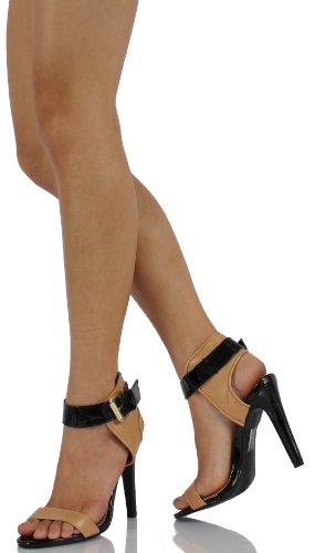 Délicieuses Femmes Ingrid Couleur Bloc Large Sangle Cheville Sangle, Blond Et Noir, 6 M Us