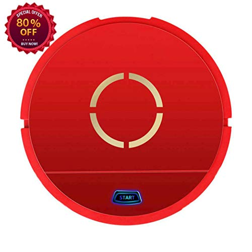 USB Charging Intelligent Sweeping Robot, Strong Suction, Super Quiet, Home Automatic Sweeping for Pet Hair Allergens, Hardwood Floor and Tile Household Automatic Cleaner (Red)