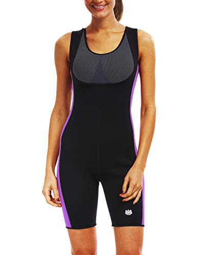 FitsT4 Women's Full Body Sauna Suit w/o Sleeves Hot Neoprene Weight Loss Sweating Suit for Gym Sport Aerobic Boxing MMA